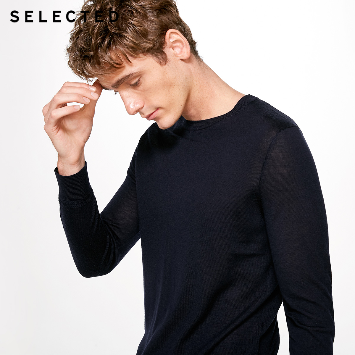 SELECTED Pure Wool Italy Merino V Collar Men Lightweight Knitwear Sweater S|418424501(China)