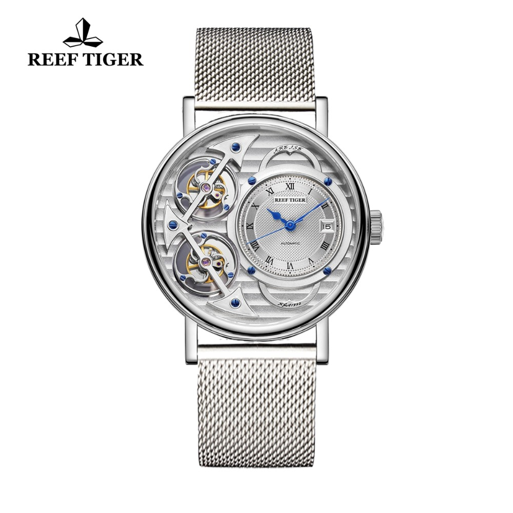 Reef Tiger Brand Fashion Watches Steel Ultra Thin Watches Men Skeleton Mechanical Watch RGA1995 ( Non-moving Double Tourbillon )Reef Tiger Brand Fashion Watches Steel Ultra Thin Watches Men Skeleton Mechanical Watch RGA1995 ( Non-moving Double Tourbillon )