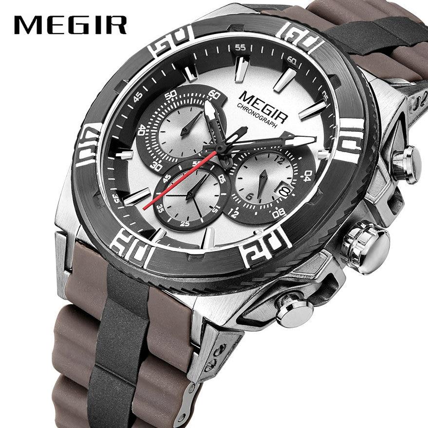 MEGIR militaire Sport hommes montre Quartz horloge marron silicone bracelet Date affichage 3D cadran multifonctionnel étanche montre-bracelet