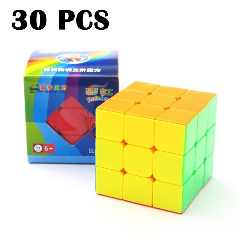 30 pièces ShengShou Arc-En-Ciel 3x3 cube Magique Concurrence Lisse Cubo magico Non Autocollant Puzzle cube à Trois couches Neo Cube Jouet Classique