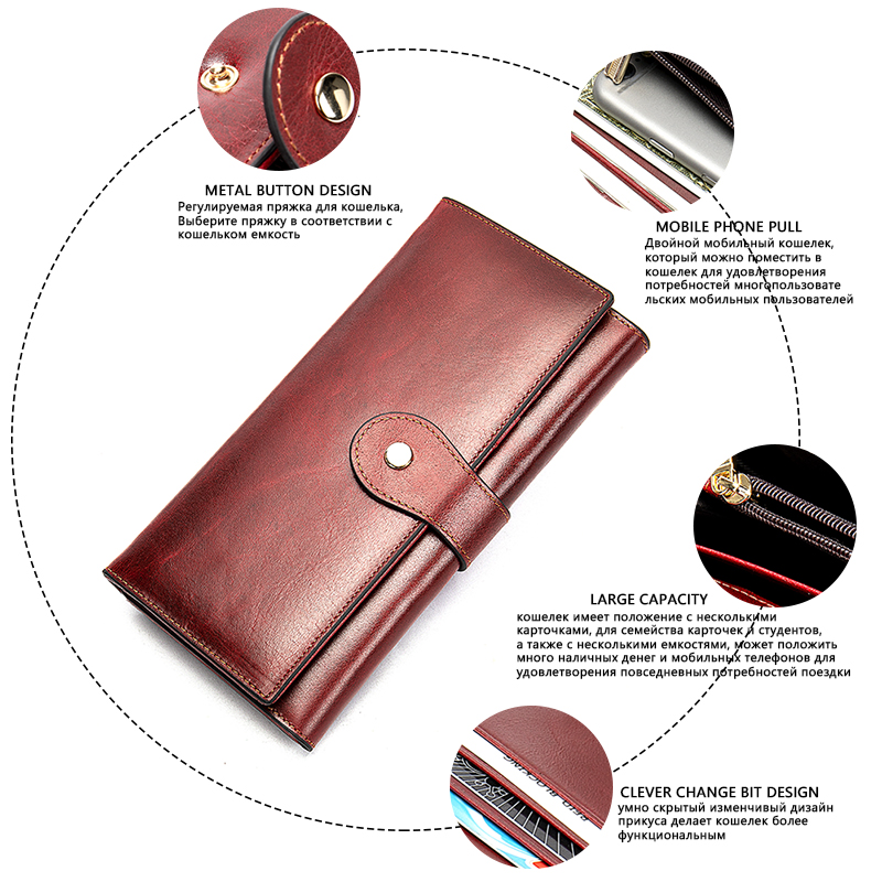 Image 5 - WETSAL 100% Genuine Leather Women Wallet Female Long Clutch Lady Walet Portomone Money Bag Coin Wallet Purse for Card/phoneWallets   -