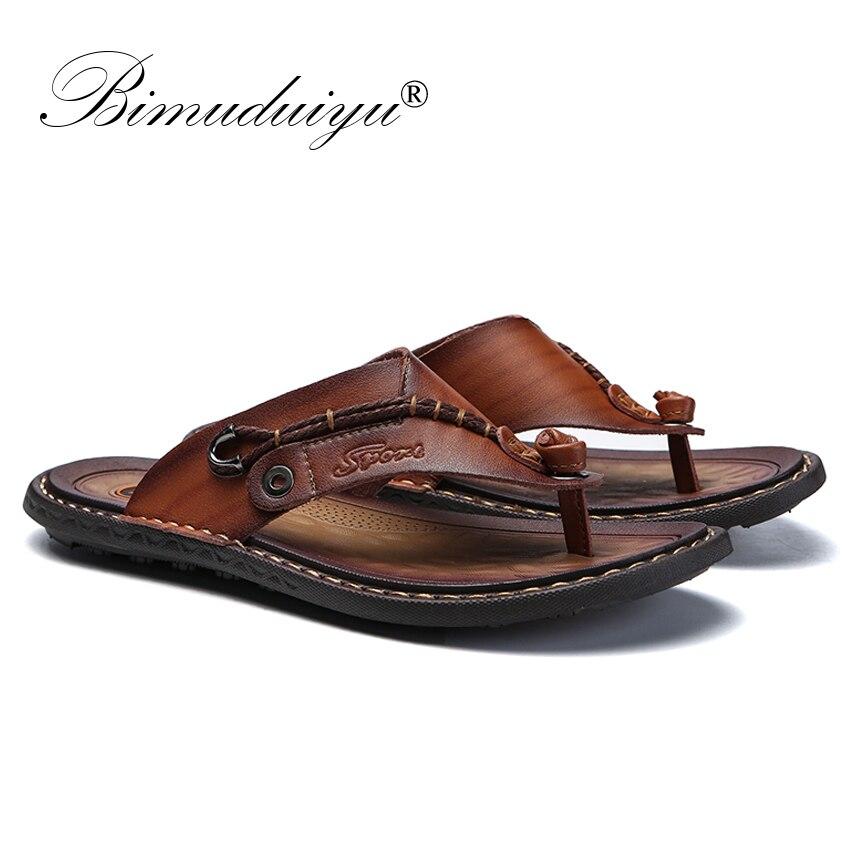 Image 2 - BIMUDUIYU Brand Summer New Arrival Summer Cool Men Flip Flops Rubber Soft Beach Shoes Non slide Mens Slippers Massage FootwearFlip Flops   -