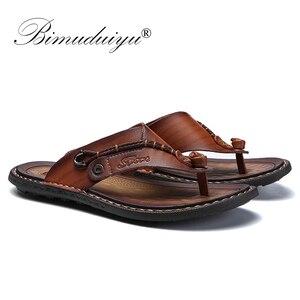 Image 2 - BIMUDUIYU Brand Summer New Arrival Summer Cool Men Flip Flops Rubber Soft Beach Shoes Non slide Mens Slippers Massage Footwear