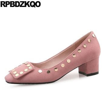 Pink Suede Chic Size 33 Square Toe Metal Ladies Mid Heels Shoes Medium 12 44 Thick 11 43 Stud Women 2017 Big Casual 4 34 Autumn