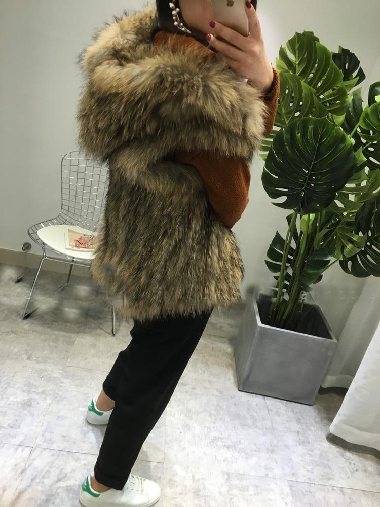 Brown Black Crochet Hand Knitted Knit Fur Hooded Vest Raccoon Fur Waistcoat Coat Gilet Outwear Sweater Thickly Men Women Lady