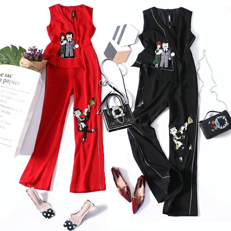 Embroidered Sequins Zip Back Sleeveless Jumpsuit Elegant 2018 New Women Deep V Neck Sleeveless High Waist Wide Leg Jumpsuit