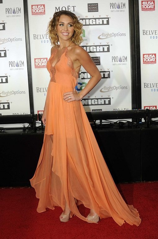 Sexy Orange Miley Cyrus Prom Dress Backless High Low V Neck ...