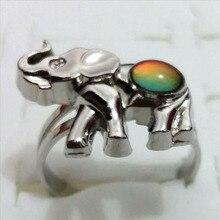 Супер качество Кристалл Слон настроения кольца выпуклые бусины пара температура кольцо меняющее цвет регулируемое кольцо