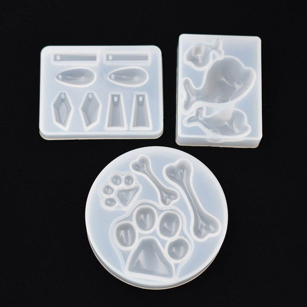 SNASAN 3pieces Silicone Mold Pendant Resin Silicone Mould Handmade DIY Jewelry Making Epoxy Dolphin Bone Stone Bear