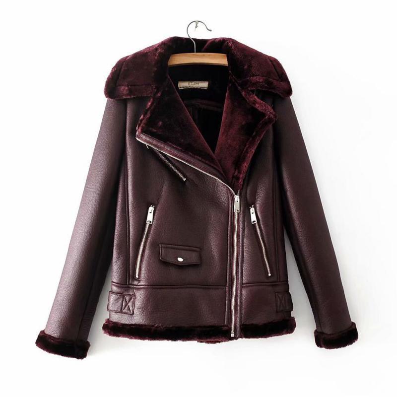 Women plus velvet   leather   jacket 2019 winter locomotive jacket fur one slim autumn warm bomberka damska jackets woman winter L