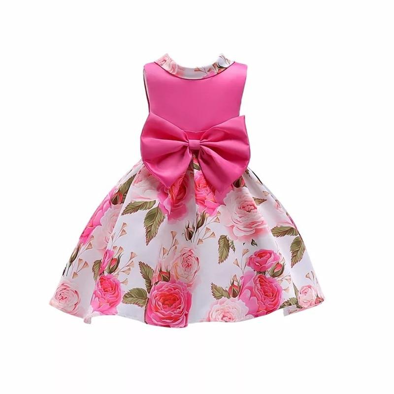Hot Sale Summer Girls Dress Children Flower Bowknot Party Wedding Dresses Elegant Princess Kids Birthday Custumes Vestidos