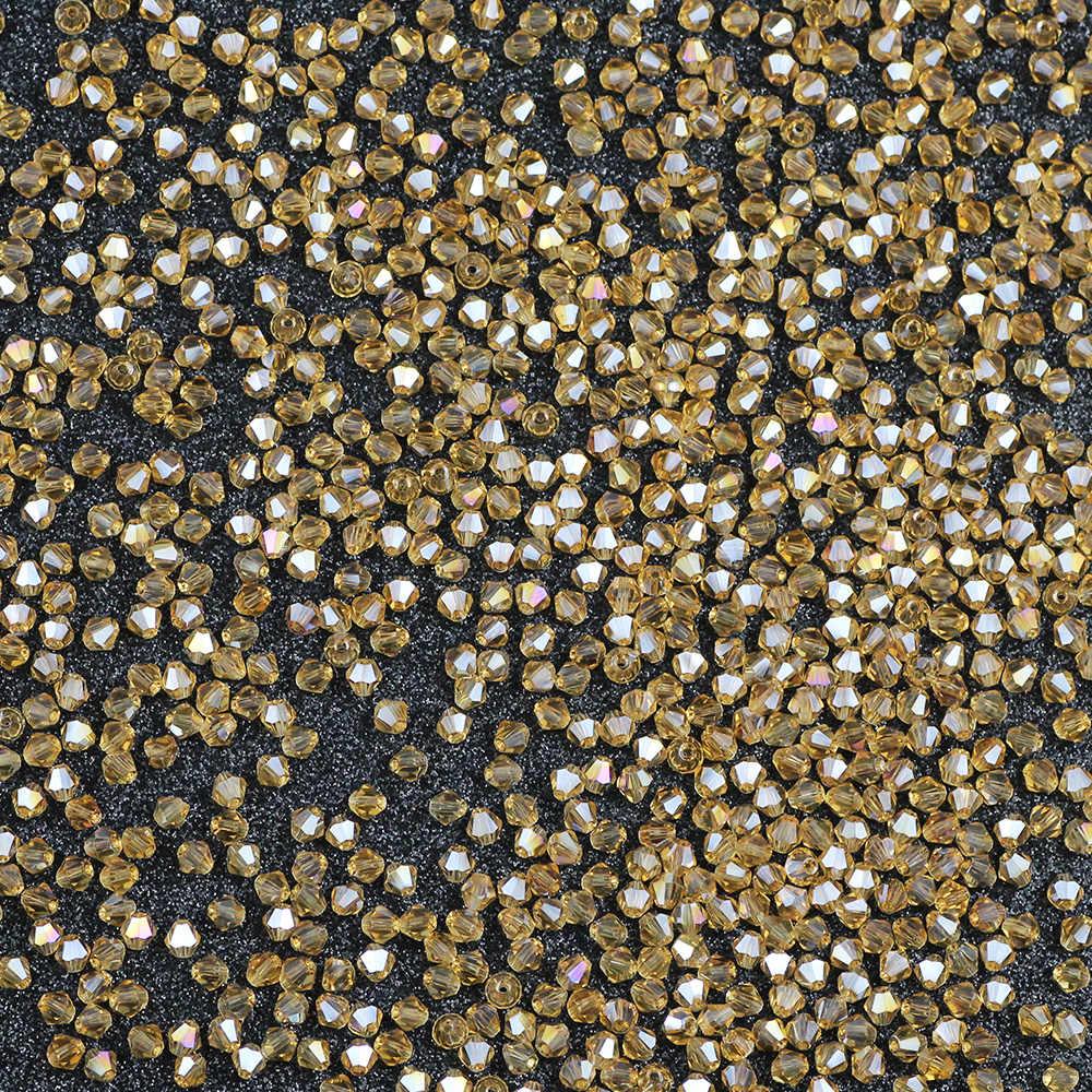 Gold champagner AB 100 stücke 4mm Doppelkegel Österreichischen Kristall charme handarbeit Glas Lose Spacer Perlen für Schmuck Machen DIY zubehör