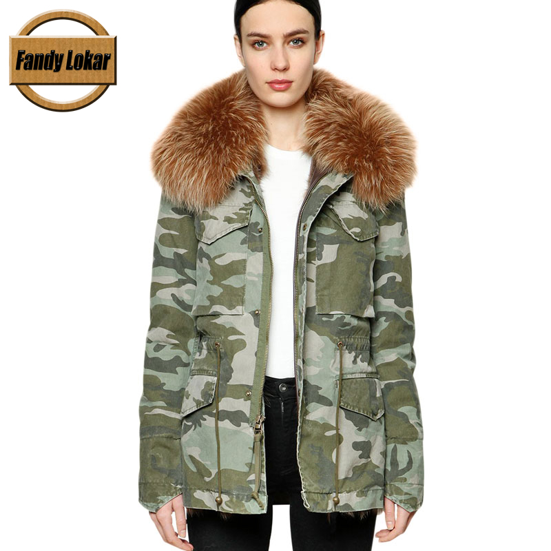 Camouflage Fox Fur Collar Coat Women Winter Real Wolf Fur Liner Zipper Jacket With Hat Women Bomber Parka Female Ladies printed long raccoon fur collar coat women winter real rabbit fur liner hooded jacket women bomber parka female ladies fp896