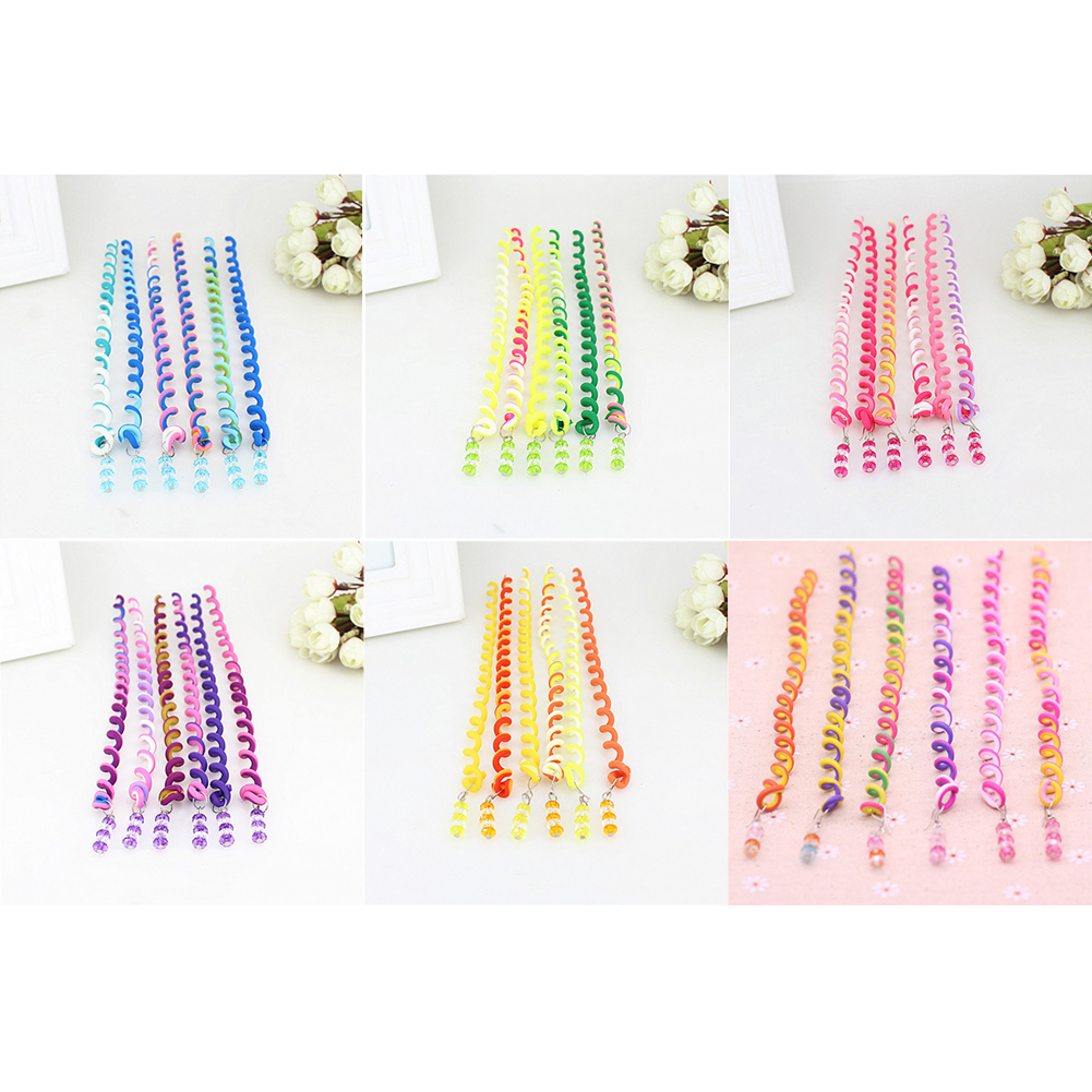 Купить с кэшбэком Girl Hair Accessories Soft Ceramic Hair Spiral Braiders Colorful Beads Rolling DIY Hairband Curly Rope Cute Child Headwear