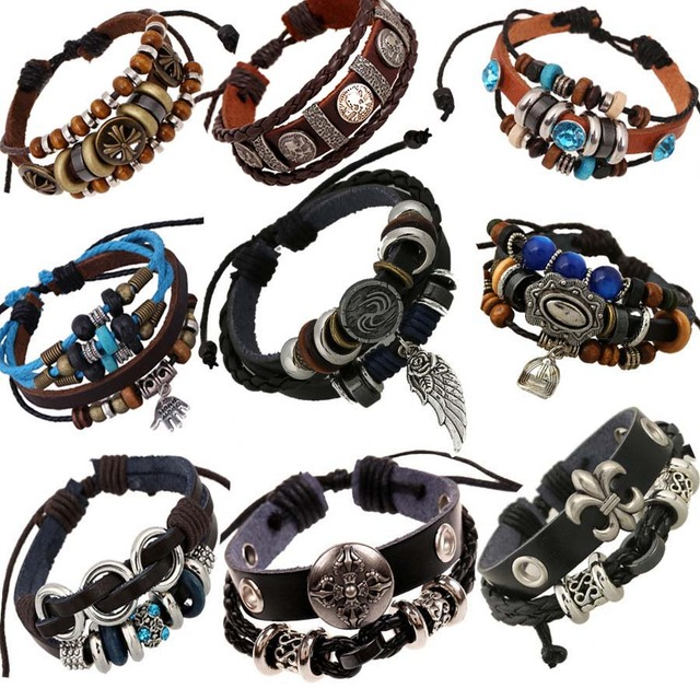 Vintage Rope Leather Mens Bracelets Hand Woven Bracelet For Men Braided Male