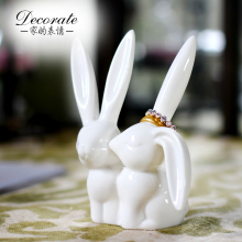 ceramic white rabbit ring jewelry Storage rack home decor craft room decoration handicraft porcelain figurine wedding