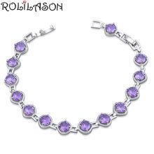 Rolilason Модный маленький свежий Фиолетовый Кристалл Циркон
