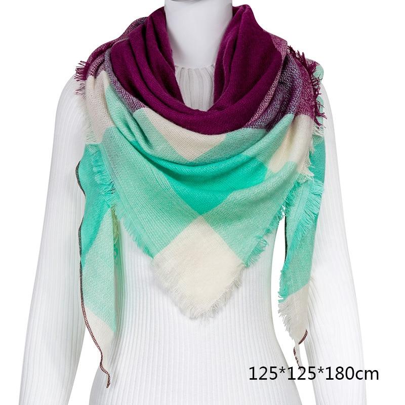 Горячая Распродажа, Модный зимний шарф, Женские повседневные шарфы, Дамское Клетчатое одеяло, кашемировый треугольный шарф,, Прямая поставка - Цвет: B9