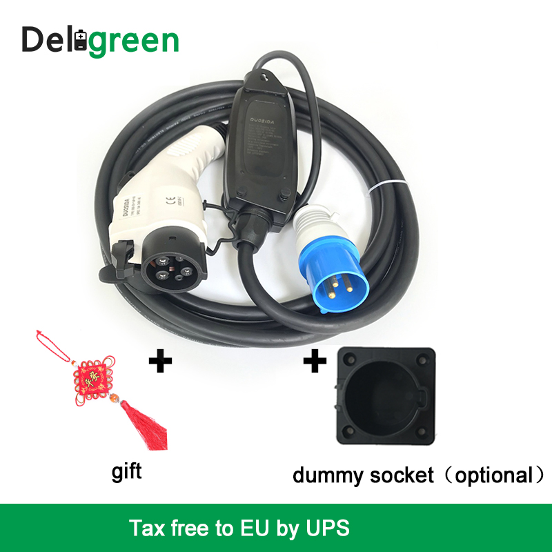 Tax Free to EU EVSE Car charger 16A J1772 Duosida Level 1 Electric Vehicle Charging 16A Blue CEE With 5M Cable with Dummy Socket dsp25 16a to 247