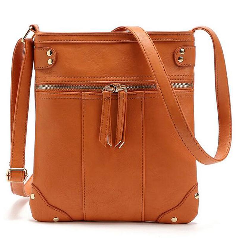 Prix pour Mode femmes en cuir messenger sacs double zipper vintage style femmes sacs à main bolsa feminina casual sacs à bandoulière