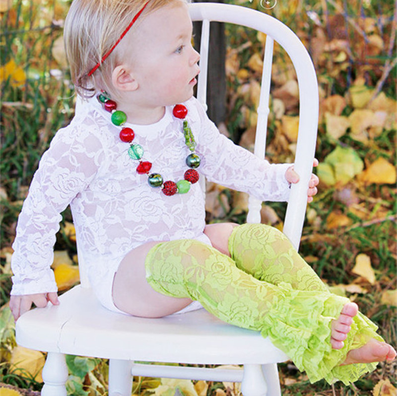 Baby Girl Lace Bodysuit,White Long Sleeve Lace Onesie Baby Clothes