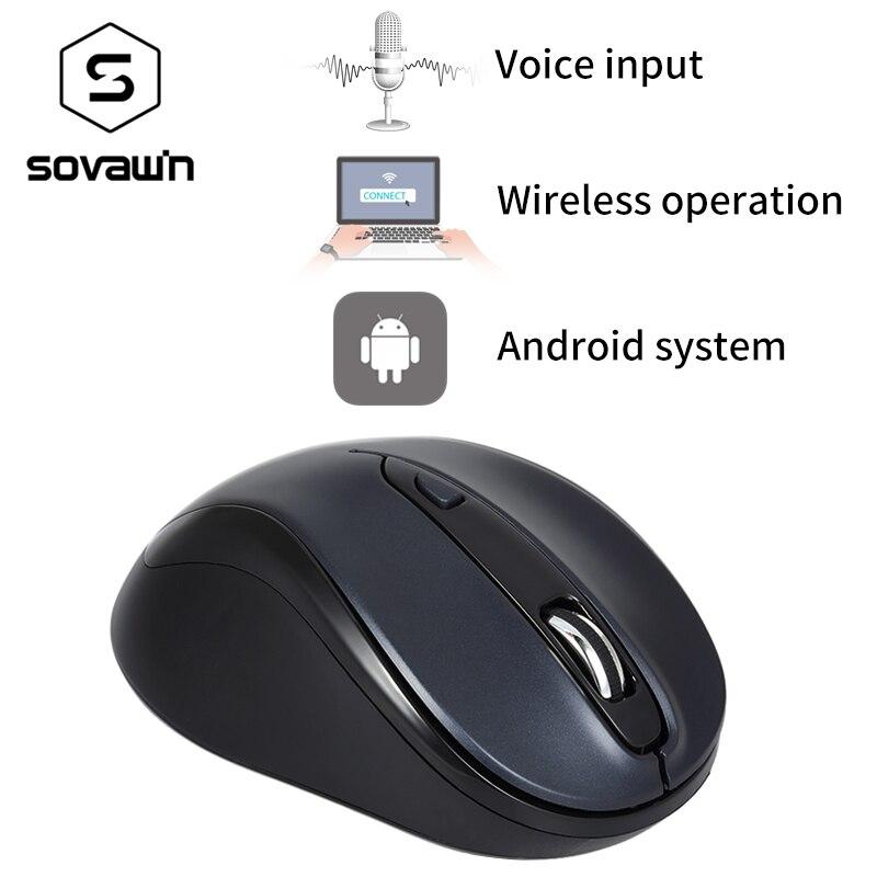 Sovawin Şarj Edilebilir Akıllı Ses Fare 2.4 Ghz Kablosuz Optik Tembel Ergonomi Fare Ses Yazma Arama Bilgisayar PC için USB