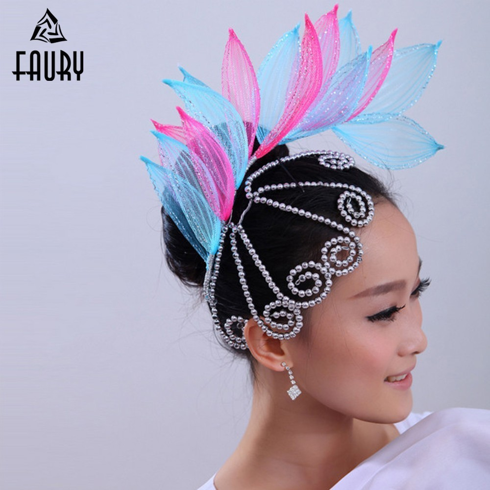 Nation Dance Square Dance Start Dance Yangge Dance Dance Headwear Stage Performance Show Ornaments Flower Paillette Flower