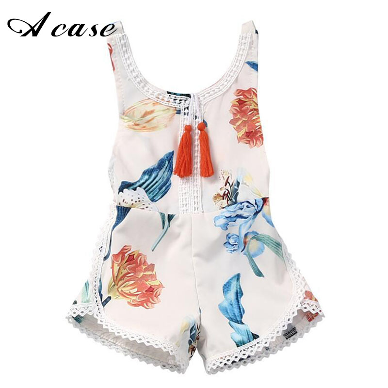 New Summer Baby Girl Romper Floral Printed Sleeveless Clothes 2018 Girls One-pieces Overalls for 1 2 3 4 Years Baby Kids Outfits one pieces cute newborn infant baby girls sleeveless black floral romper outfits summer sunsuit clothes