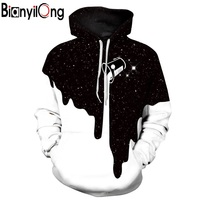 BIANYILONG Hot Fashion Men Women 3d Sweatshirts Print Spilled Milk Space Galaxy Hooded Hoodies Thin Unisex