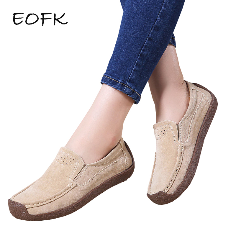 EOFK New Spring Autumn Women Moccasins Women's Flats Suede Genuine leather Shoes Woman Lady Loafers Slip On Flat Shoes new suede leather women shoes loafers slip on sewing driving flats tassel woman breathable moccasins blue ladies boat flat shoes