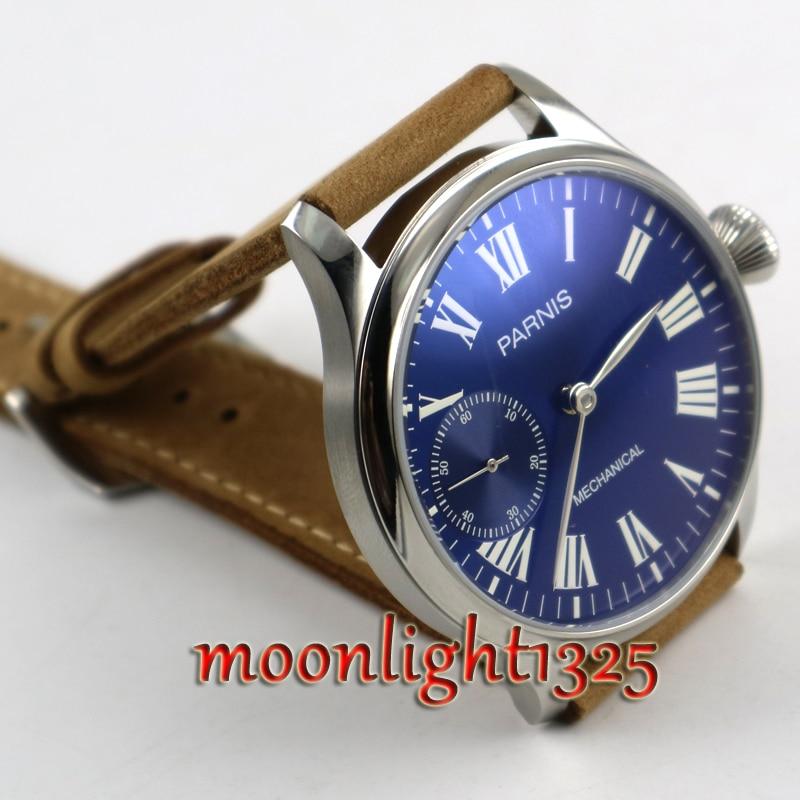 44mm Parnis esfera azul real luminoso 17 joyas mecánico 6497 movimiento de cuerda manual hombres reloj-in Relojes mecánicos from Relojes de pulsera    2