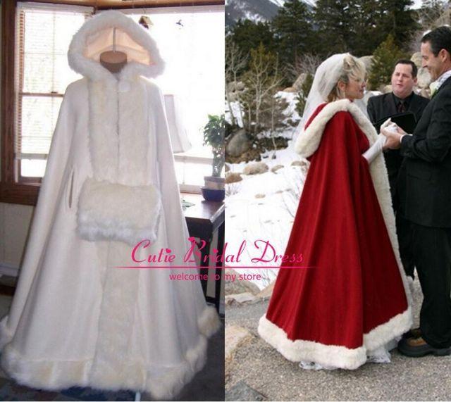 Casacos De inverno Casamento com Capuz com Faux Fur Perfeito Para O Inverno longas Wraps Jacket 2017 Custom Made Inverno Capa Para O Casamento vestido