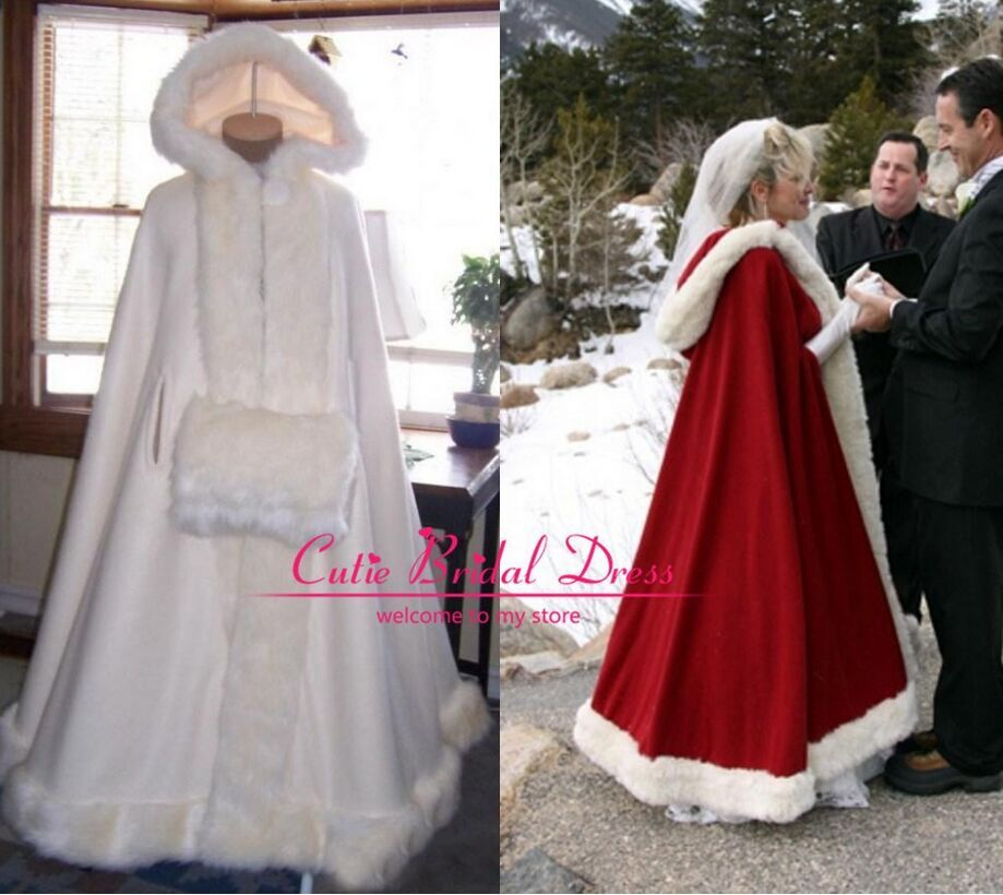 Buy winter wedding cloaks hooded with for Winter wedding dresses for sale