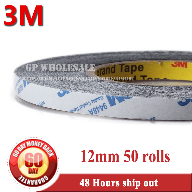 50x 12mm * 50 meters 3M Black 9448 Double Sided Adhesive Tape Slim Sticky for Cellphone LCD Display Touch Screen Repair #15 1x 76mm 50m 3m 9448 black two sided tape for cellphone phone lcd touch panel dispaly screen housing repair