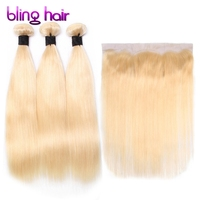 Blinghair 613 Blonde Brazilian Raw Straight Hair 3 Bundles With 13x4 Frontal Non Remy Human Hair