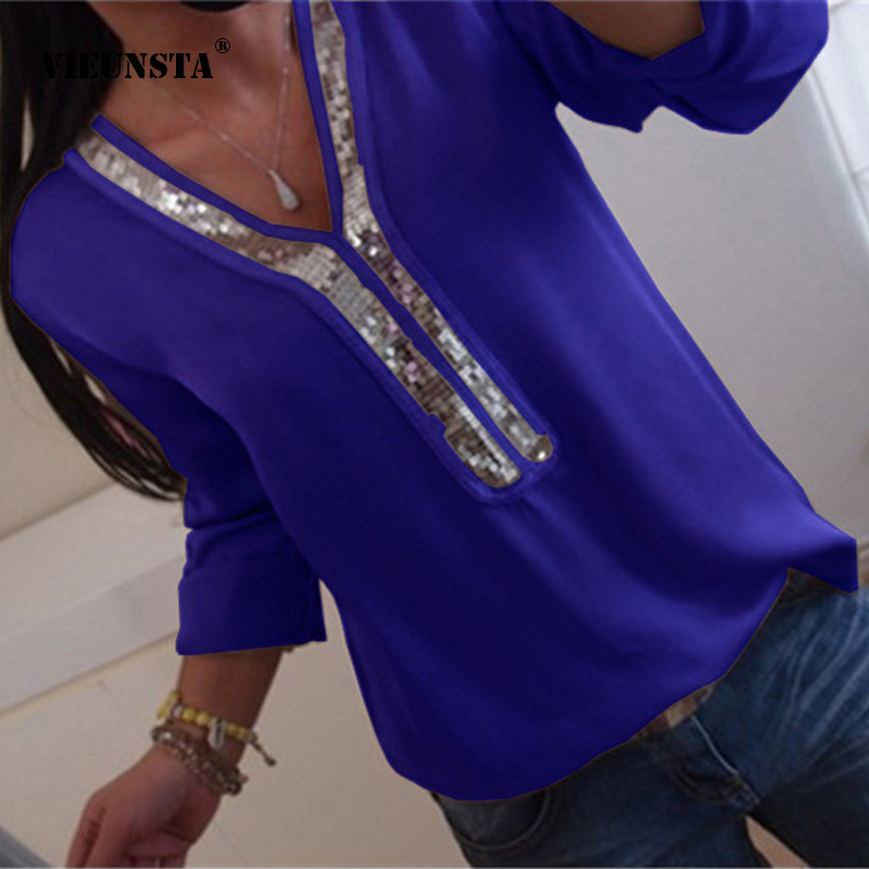 VIEUNSTA Women Sexy V-neck Sequins Chiffon   Blouse     Shirt   Spring Summer Office Lady   Blouses   Tops Plus Size S-5XL blusa feminina