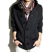 新しいセーター男性厚い暖かい綿スタンド襟固体4色カーディガンメンズ生き抜くボタンセーターニットカーディガンオムコー