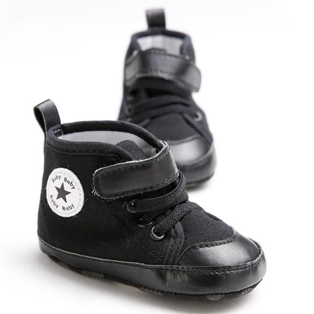 c979aadc3 Cute Star Black Anti-slip Baby Shoes Newborn Boy Crib Shoes Toddler Loafer  Prewalker Footwear