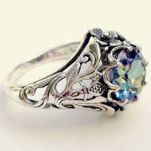 New 1 Piece!!! New Fashion Finger Ring Colored Zircon Hollow Creative Silver Ring Size 6 7 8 9 10(China)