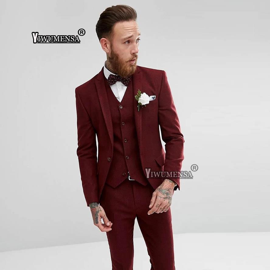 online venta directa de fábrica comprar original US $132.0 |yiwumensa Traje De Boda Hombre Bundery Burgundy Wedding suit for  men 2018 Custom Made 3 Piece Formal Evening Prom Suits 2019-in Suits from  ...