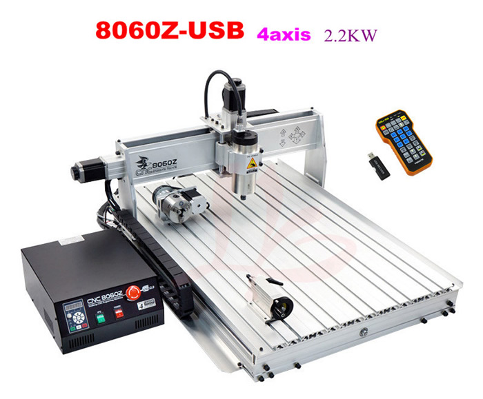 2200W 8060 4 axis cnc milling machine high power for metal alumium wood with mach3 handle 110 220v 1500w 4 axis metal milling machine cnc 6040 with limit switch for metal wood cutting