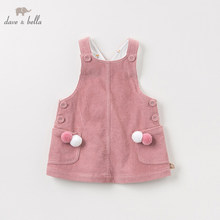 DBZ11143-2 dave bella spring autumn infant baby girls solid strap dress lolita party suspenders dress toddler children clothes db3094 dave bella spring baby girls leopard dress girls princess dress wedding party dress