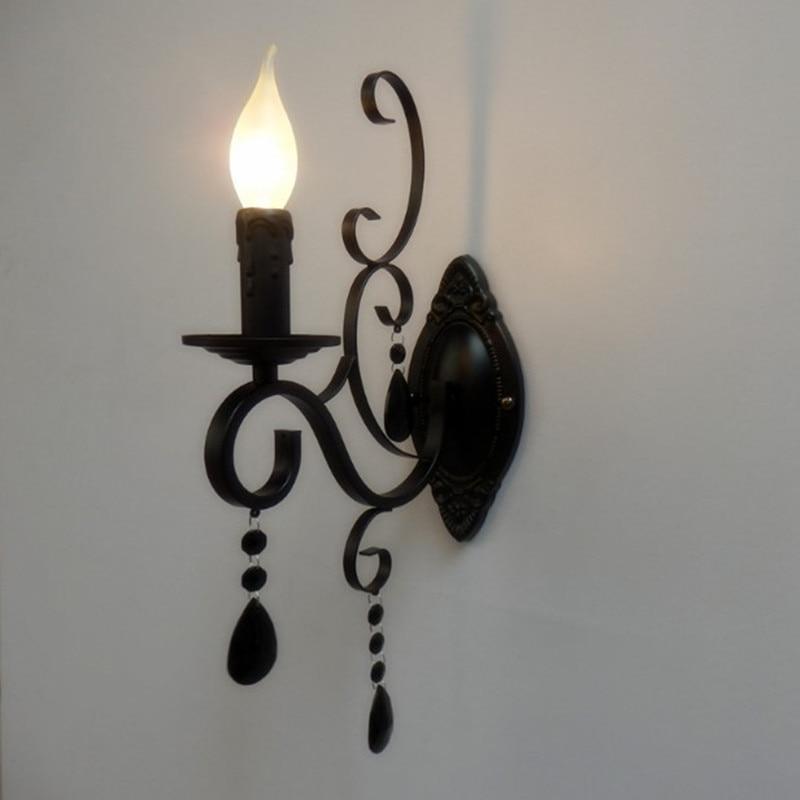 Европейски класически стил свещ светлина метал кристал стена лампи един главата E14 крушка лампа осветително тяло