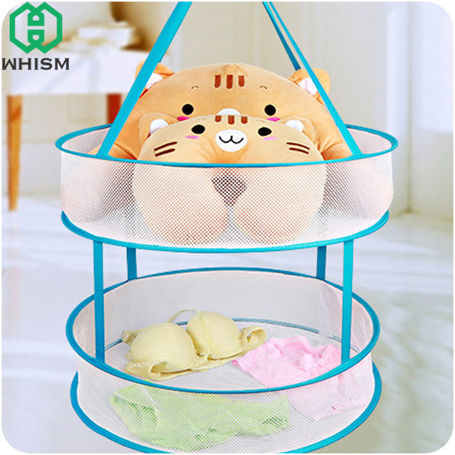 Whism Folding Laundry Basket Dryer Double Layer Clothes Drying Rack Hanging Underwear Bra Storage Net Sweater