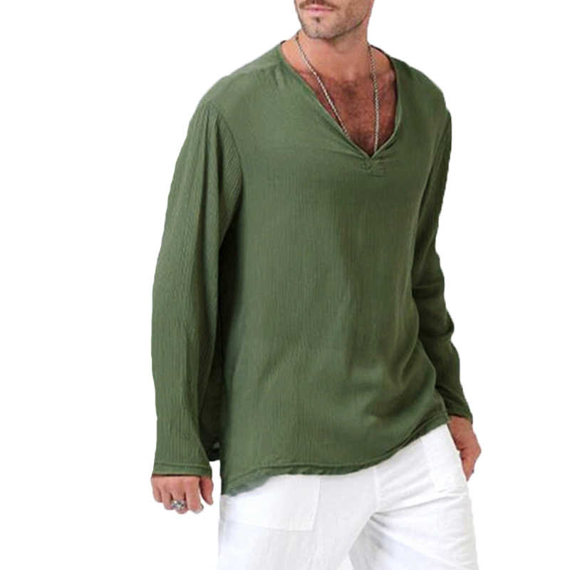 LASPERAL 長袖 Tシャツ男性ファッション秋ソリッドコットンリネン Tシャツ男性 Tシャツトップスカジュアルソリッドブランド 2018 新到着