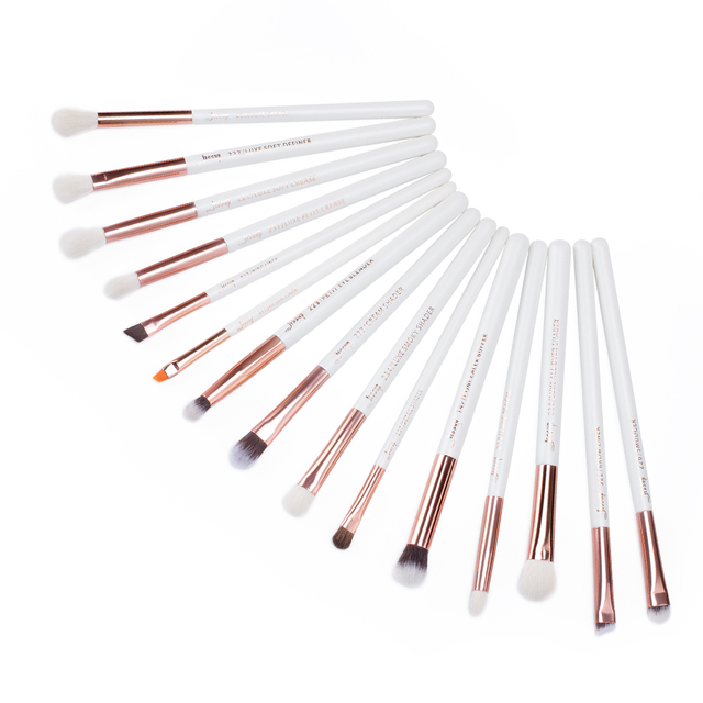 Jessup Pearl White/Rose Gold Professional Makeup Brushes Set Make up Brush Tools kit Eye Liner Shader