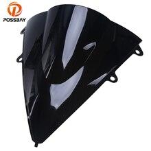 POSSBAY Motorcycle Windshield Windscreen Double Bubble Airflow Adjustable for Honda CBR1000 RR 2012-2013 Motorbike Wind Defector