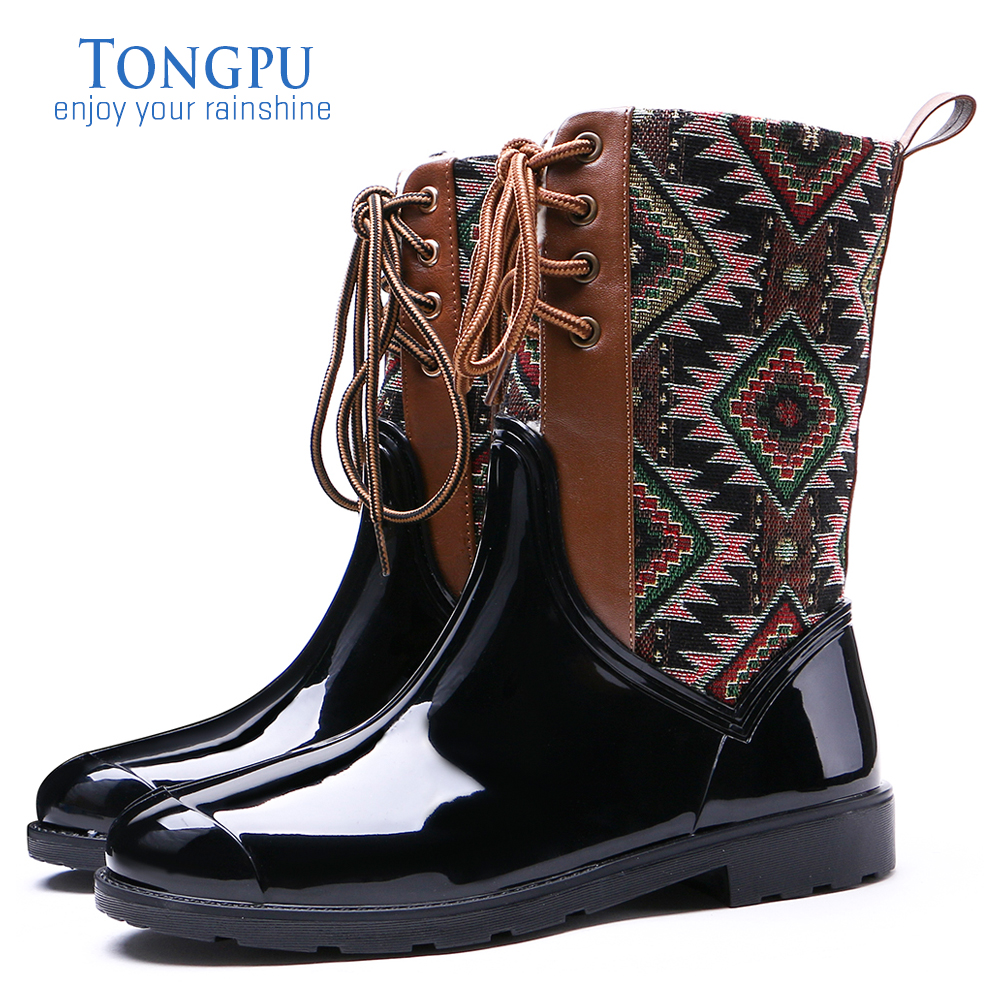 TONGPU Geo-Pattern Lace-Up Women's Mid-Calf Waterproof Winter Rain Boots 154-447 lace up slouch mid calf boots
