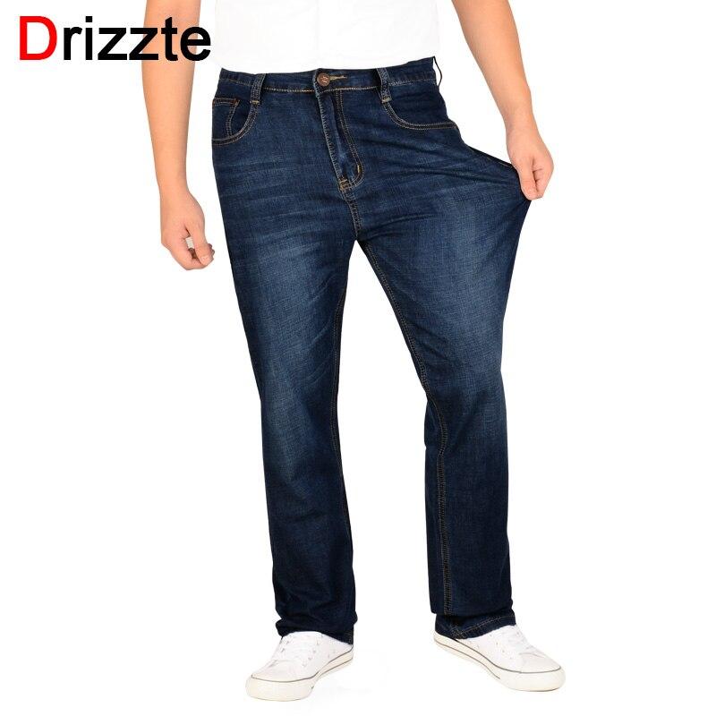 Drizzte Più Il Formato 32 a 42 44 46 48 50 52 Mens Stretch Jeans Dritto Jeans Denim Pantaloni di Grandi Dimensioni grande e Grosso Pantaloni Lunghi
