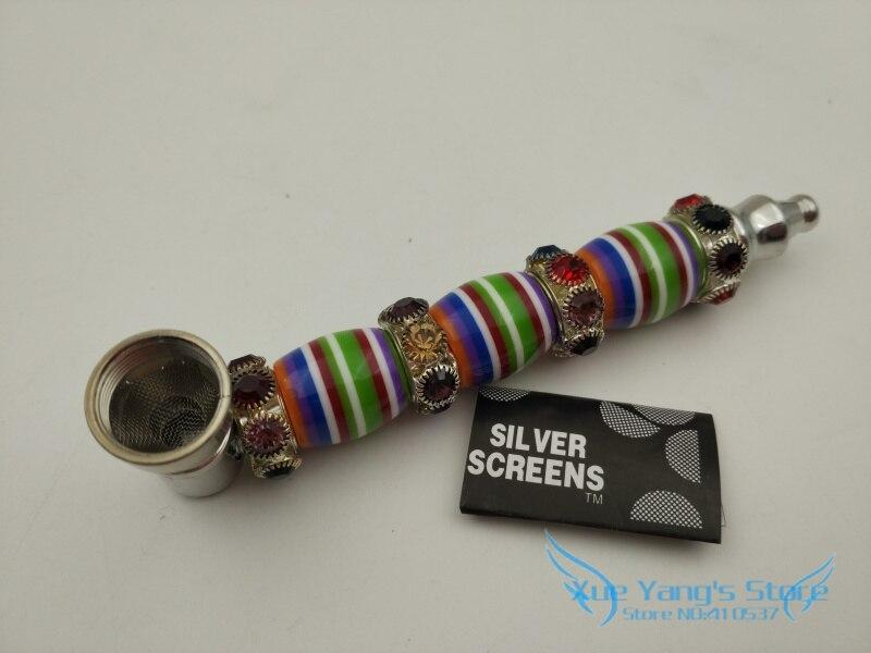 New 1pcs Rasta Rhinestone colorful stripe Arabesque Smoking Pipe Metal tobacco pipes Weed Pipe S/L size YD152
